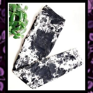 ROYAL BONES Skull Splatter Acid Wash Jeans #103b